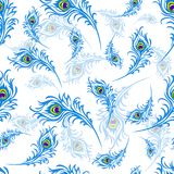 Seamless pattern for the holiday of Janmastami, peacock feathers vector illustration