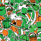Seamless pattern with holiday symbols Patrick Royalty Free Stock Images