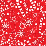Seamless pattern with hollies and candycanes royalty free illustration