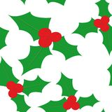 Seamless pattern with holly Stock Photos