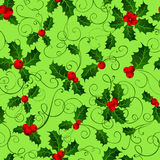 Seamless pattern with holly berries. Stock Photo