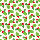 Seamless pattern of holly berry sprig. Illustration of christmas holiday design. Green and red colors Stock Photos
