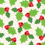 Seamless pattern of holly berry sprig.  Vector. Illustration of christmas holiday design. Green and red colors Royalty Free Stock Images