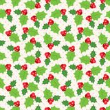 Seamless pattern of holly berry sprig.  Vector. Illustration of christmas holiday design. Green and red colors Stock Photography