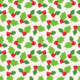 Seamless pattern of holly berry sprig. Vector. Illustration of christmas holiday design. Green and red colors Stock Images