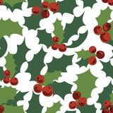 Seamless pattern of holly branches. Decorative element with holly tree. Seamless pattern of holly branches. New Year`s design for your business. The holly tree Vector Illustration