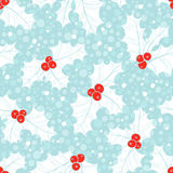 Seamless pattern with holly. Christmas  background. Royalty Free Stock Photography