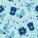 Seamless  pattern with holly, poinsettia, festive garlands and mulled wine. Stock Image