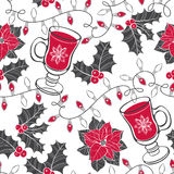 Seamless  pattern with holly, poinsettia, festive garlands Royalty Free Stock Photography