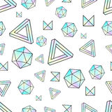 Seamless pattern with holographic elements. Memphis style. Abstract geometry Royalty Free Stock Image