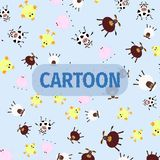 Seamless pattern from the home animals such as donkey, cow, chicken, ship, and the pig at the light blue background. And hand drawn word cartoon Royalty Free Stock Images