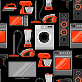 Seamless pattern with home appliances. Household items for sale and shopping advertising background Royalty Free Stock Photography