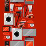 Seamless pattern with home appliances. Household items for sale and shopping advertising background Royalty Free Stock Images
