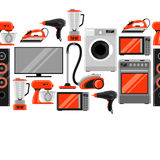 Seamless pattern with home appliances. Household items for sale and shopping advertising background Stock Image