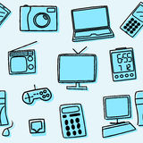 Seamless pattern of home electronics in blue. Vector illustration Stock Photo