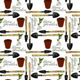 Seamless pattern home garden. Home garden sign, shovel, sprout plants, ceramic pot, retro style Royalty Free Stock Images
