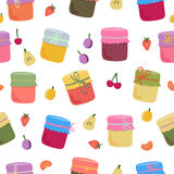 Seamless pattern with home-made jams and fruits. Vector illustration for your design stock illustration