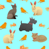 Seamless Pattern with Home Pets - Cats, Dog and Rabbit Royalty Free Stock Photography