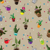 Seamless pattern with homemade flowers. Watering cans and flowers in a vase Stock Photography