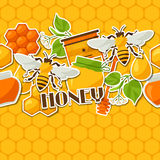 Seamless pattern with honey and bee stickers Royalty Free Stock Photos