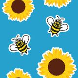 Seamless pattern honey bee and sunflower on blue background stock illustration