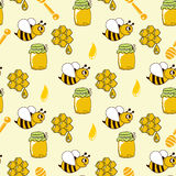 Seamless pattern with honey, bees, honeycomb, drop, honey spoon Royalty Free Stock Photography