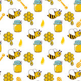 Seamless pattern with honey, bees, honeycomb, drop, honey spoon Stock Images
