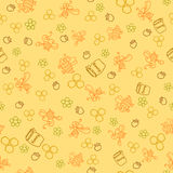 Seamless pattern with honey bees in a honeycomb Stock Photography