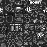 Seamless pattern Honey market, bazaar, honey fair Doodle images of bees, flowers, jars, honeycomb, beehive, spot. The keg with lettering sweet honey, natural stock illustration