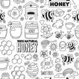 Seamless pattern Honey market, bazaar, honey fair Doodle images of bees, flowers, jars, honeycomb, beehive, spot stock illustration