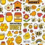 Seamless pattern Honey market, bazaar, honey fair Doodle images of bees. Flowers, jars, honeycomb, beehive, spot, the keg with lettering sweet honey, natural vector illustration