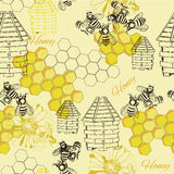 Seamless pattern honey Stock Photography