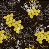 Seamless pattern honey. Vector illustration of seamless pattern honey. Hand drawn design Royalty Free Stock Images