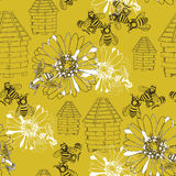 Seamless pattern honey. Vector illustration of seamless pattern honey on yellow background Stock Images