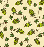 Seamless Pattern Hops Plans for Beer Stock Image