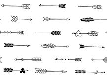 Seamless pattern with horisontal hand drawn arrows in boho style stock illustration