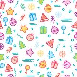 Vector illustration new year display seamless background. Seamless pattern. Horizontal and vertical. Merry Christmas and New Year Royalty Free Stock Photos