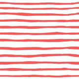 Seamless pattern of horizontal watercolor coral strips stock image