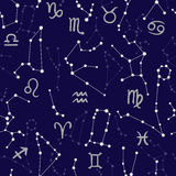 Seamless pattern with horoscope signs and constellations. Royalty Free Stock Photo