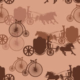 Seamless pattern of horse carriages and bicycles Royalty Free Stock Images