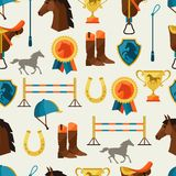 Seamless pattern with horse equipment in flat Royalty Free Stock Photos