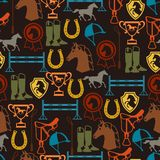 Seamless pattern with horse equipment in flat Royalty Free Stock Image