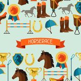 Seamless pattern with horse equipment in flat Stock Images