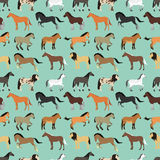 Seamless pattern with horse in flat style. Animal vector design wallpaper stallion textile. Cartoon pony drawing cute abstract race farm mare. Flat mammal Stock Images