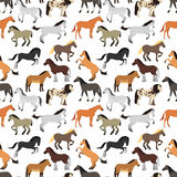 Seamless pattern with horse in flat style. Animal vector design wallpaper stallion textile. Cartoon pony drawing cute abstract race farm mare. Flat mammal Stock Image