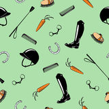 Seamless pattern with horse riding tack tool on green. Royalty Free Stock Images