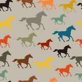 Seamless pattern with horse running in flat style Royalty Free Stock Photo