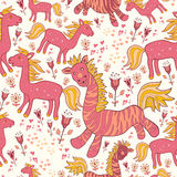 Seamless pattern with horses and flowers. Bright cartoon pattern with animals Stock Photo