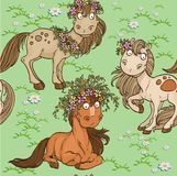 Seamless pattern with horses on a lawn vector illustration