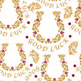 Seamless pattern with horseshoes for good luck, vector illustrat Royalty Free Stock Photo